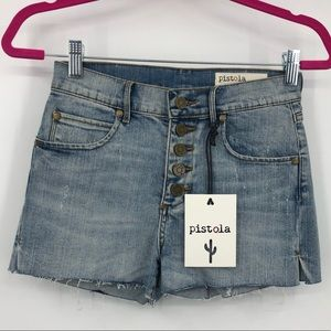 Pistola Distressed Button Fly Cutoff Shorts XS